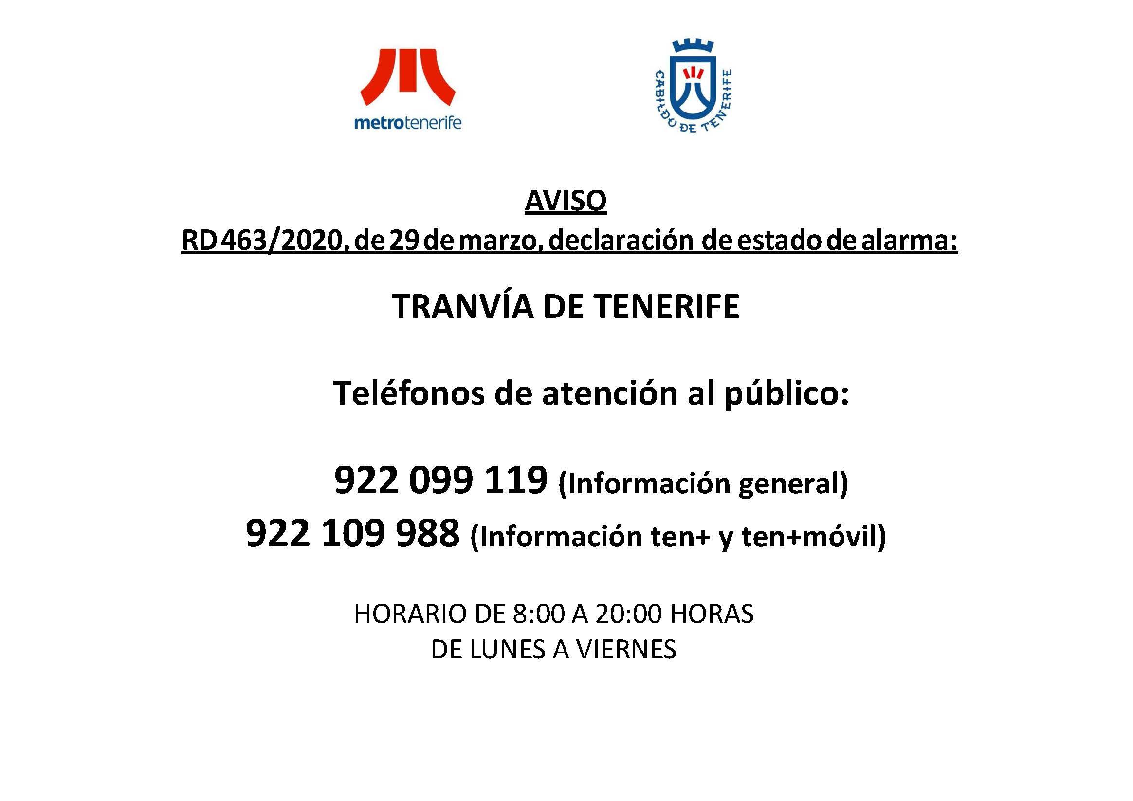Cartel servicio de atención telefónica del servicio de tranvía.