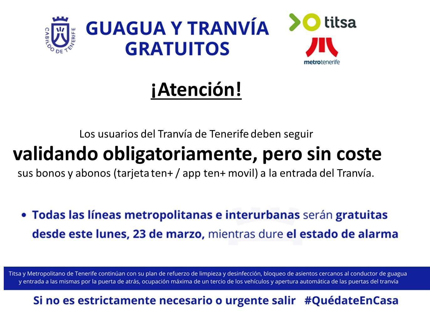 Anuncio del Cabildo de Tenerife sobre la validación sin coste de los títulos de transporte.