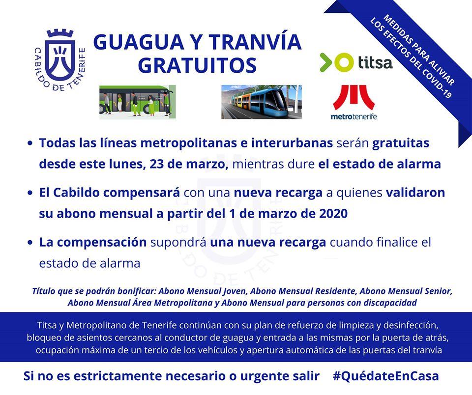 Anuncio del Cabildo de Tenerife con las medidas adoptadas en el transporte público, tranvías y guaguas.